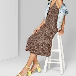 Cinched front cheetah print dress